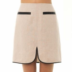 L'Agence Linen Faux Leather Trim Skirt Size 4 NWT